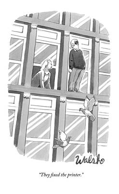 Ledge Drawing - A Woman Speaks Out The Window To A Man Standing by Liam Walsh