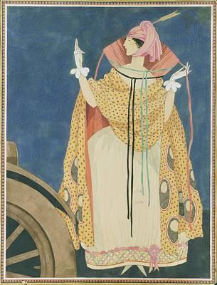 A Woman Tying A Cape Art Print