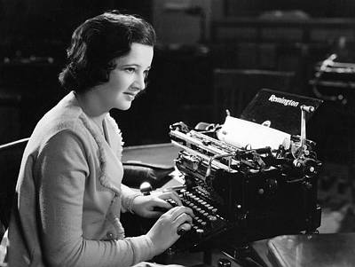 Remington Photograph - A Woman Typing by Underwood Archives