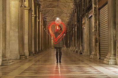 Heart-shaped Lights Photograph - A Woman Walking In A Corridor Making by Mats Silvan