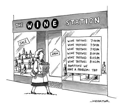 Shop Drawing - A Woman Walks By A Store Called The Wine Station by Joe Dator