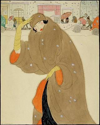 Winter Scene Digital Art - A Woman Wearing A Brown Coat by Helen Dryden