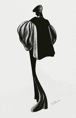 A Woman Wearing A Cape By Molyneux Art Print