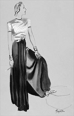 A Woman Wearing A Dress By Muriel King Art Print