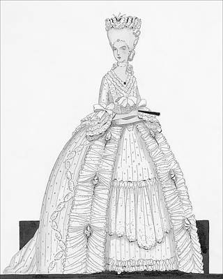 Quilting Digital Art - A Woman Wearing A Dress From 1790 by Claire Avery