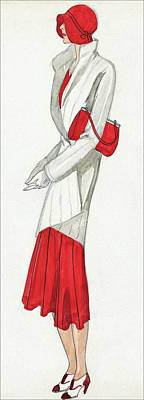 A Woman Wearing A Ermine Coat And Red Dress Art Print by David