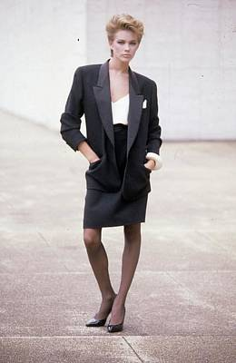 Full Skirt Photograph - A Woman Wearing A Formal Blazer And Skirt by Artist Unknown