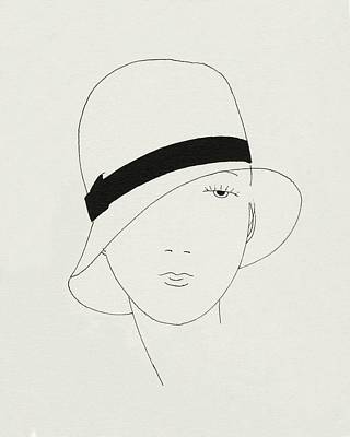 Digital Art - A Woman Wearing A Hat by Jean Pages