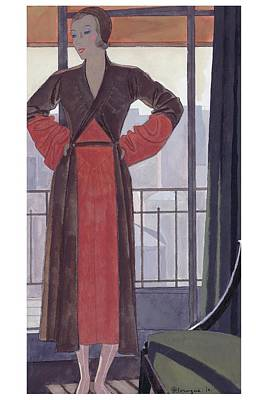 A Woman Wearing A Lanvin Dress Print by Pierre Mourgue