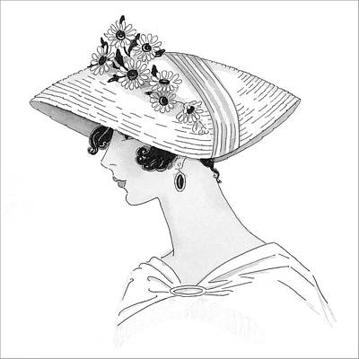 A Woman Wearing A Leghorn Hat Art Print by Claire Avery