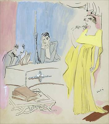 Europe Digital Art - A Woman Wearing A Maggy Rouff Gown Facing Two Men by Marcel Vertes