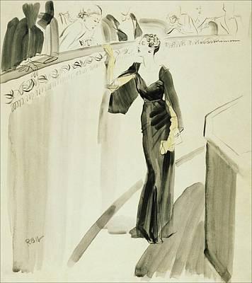 A Woman Wearing A Mainbocher Dress Art Print