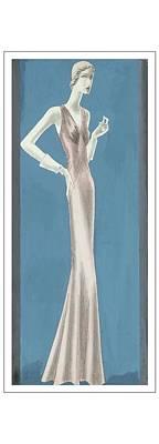 Evening Gown Digital Art - A Woman Wearing A Mainbocher Evening Gown by Eduardo Garcia Benito