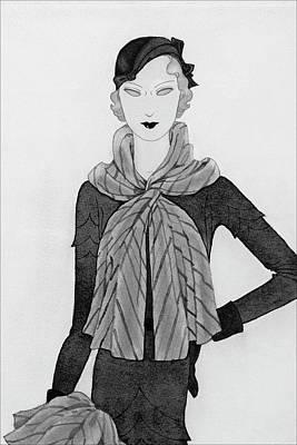 Scarf Digital Art - A Woman Wearing A Mainbocher Scarf by Douglas Pollard