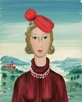 Pom Pom Digital Art - A Woman Wearing A Pillbox Hat by Rene Bouet-Willaumez