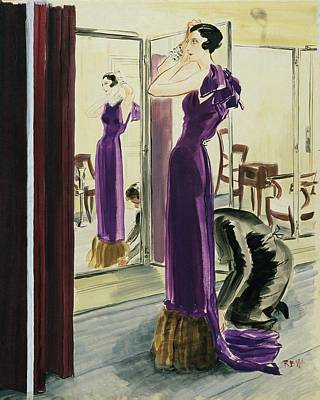 Seamstress Digital Art - A Woman Wearing A Purple Augustabernard Evening by Rene Bouet-Willaumez