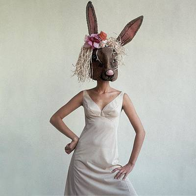 A Woman Wearing A Rabbit Mask Art Print