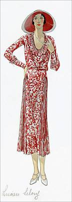 Looking At Camera Digital Art - A Woman Wearing A Red Dress By Lucien Lelong by  David