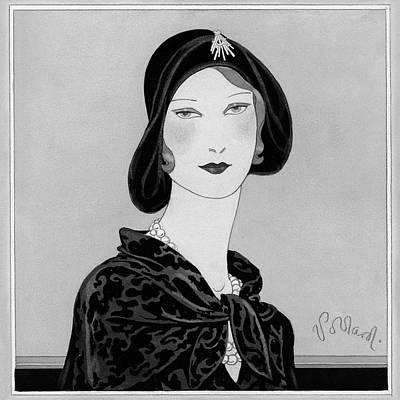Velvet Digital Art - A Woman Wearing A Rose Descat Hat by Douglas Pollard