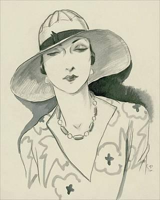White Rose Digital Art - A Woman Wearing A Rose Descat Hat by Porter Woodruff