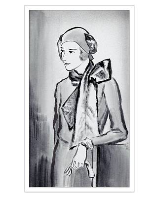 1930 Digital Art - A Woman Wearing A Scarf by Ren? Bou?t-Willaumez