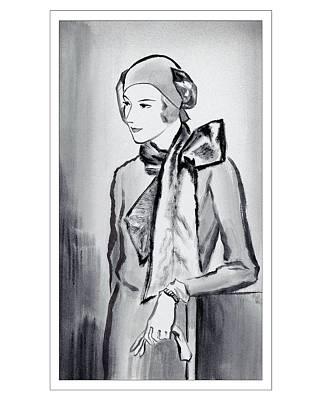 Scarf Digital Art - A Woman Wearing A Scarf by Rene Bouet-Willaumez