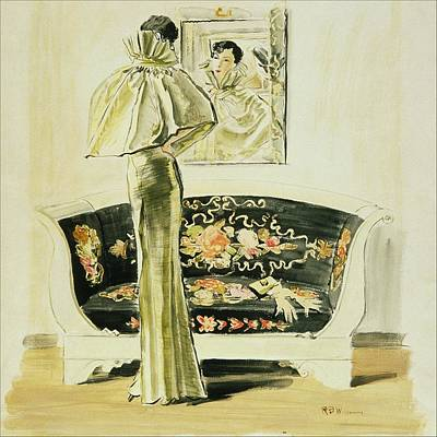 A Woman Wearing A Schiaparelli Evening Gown Art Print