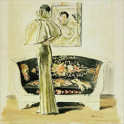 Evening Gown Digital Art - A Woman Wearing A Schiaparelli Evening Gown by Ren? Bou?t-Willaumez