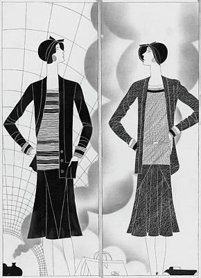 A Woman Wearing An Ensembles By Lelong And Hats Art Print by Raymond Bret-Koch