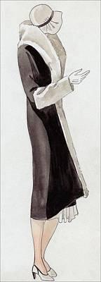 A Woman Wearing Black And White Art Print by  David
