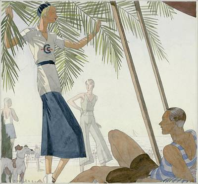 Dogs Digital Art - A Woman Wearing Patou Clothing At The Beach by Jean Pages