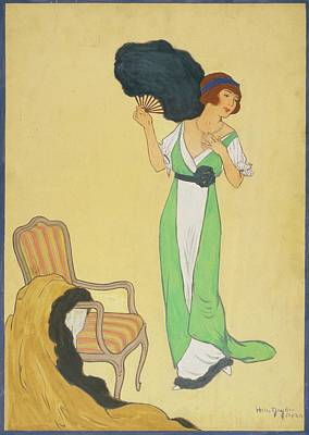 Yellow Background Digital Art - A Woman With A Black Fan by Helen Dryden