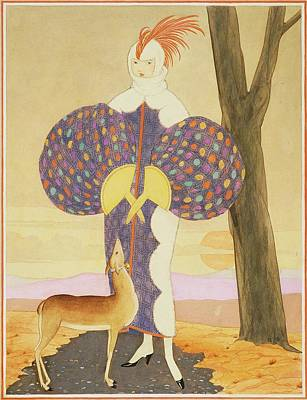 A Woman With A Deer Print by George Wolfe Plank