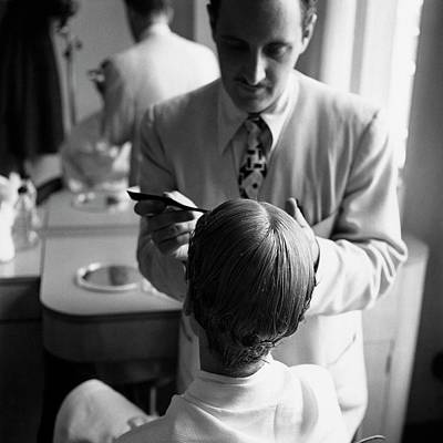 20-24 Years Photograph - A Woman With A Hairdresser by Frances Mclaughlin-Gill