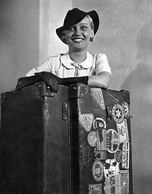 White Steamer Photograph - A Woman With Her Steamer Trunk by Underwood Archives