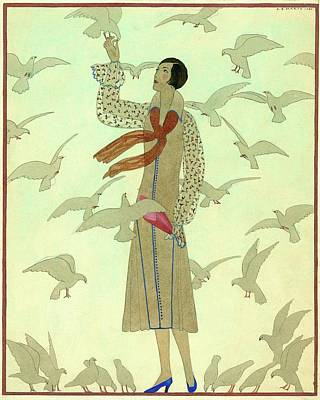 Pigeons Digital Art - A Woman With Pigeons by Andre E.  Marty