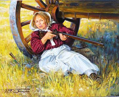 Pioneer Woman Painting - A Woman's Work Is Never Done by Kirk Stirnweis