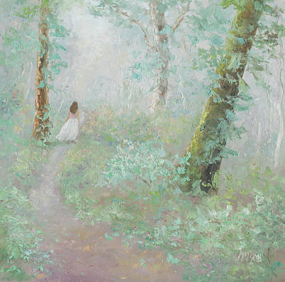 Girl In Landscape Painting - A Wood Nymph 2 by Jan Matson