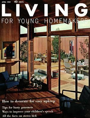 Deck Chair Digital Art - A Wood Paneled Living Room by Ernest Silva