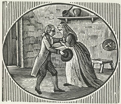 A Woodcut Of A Man And A Woman Embracing Art Print by British Library