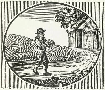 A Woodcut Of A Man Carrying A Package. Art Print by British Library