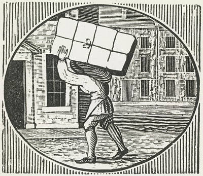A Woodcut Of A Man Carrying A Parcel. Art Print by British Library