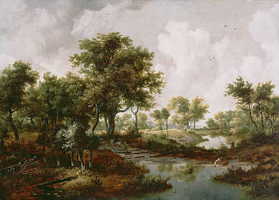 Meindert Hobbema Painting - A Wooded Landscape Meindert Hobbema, Dutch by Litz Collection