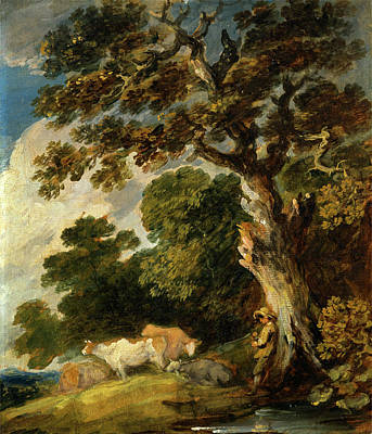 Sudbury Painting - A Wooded Landscape With Cattle And Herdsman by Litz Collection