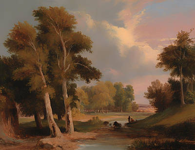 Beautiful Creek Painting - A Wooded River Landscape With Fishermen by Mountain Dreams