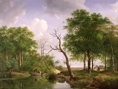 A Wooded River Landscape With Sportsmen In A Rowing Boat Print by Andreas Schelfhout