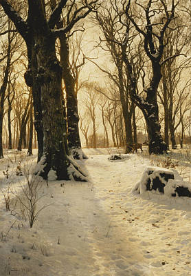 Scandinavian Painting - A Wooded Winter Landscape With Deer by Peder Monsted