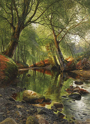 A Woodland Stream Art Print by Peder Mork Monsted