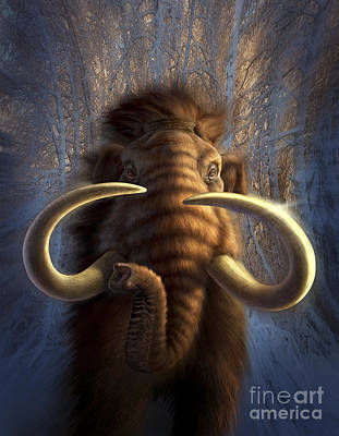 Animals Digital Art - A Woolly Mammoth Bursting by Jerry LoFaro