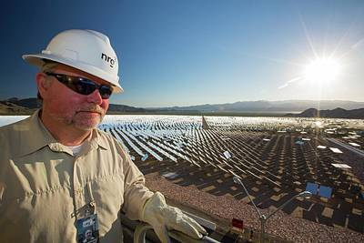 A Worker At The Ivanpah Solar Thermal Art Print by Ashley Cooper